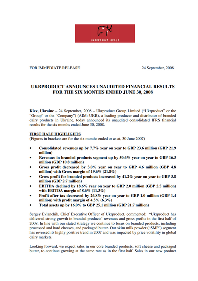 Ukrproduct Group – Half-year results 2008
