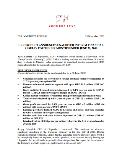 Ukrproduct Group – Half-year results 2009