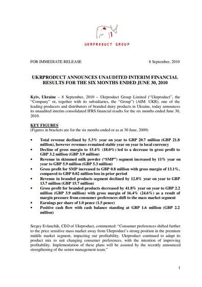 Ukrproduct Group – Half-year results 2010