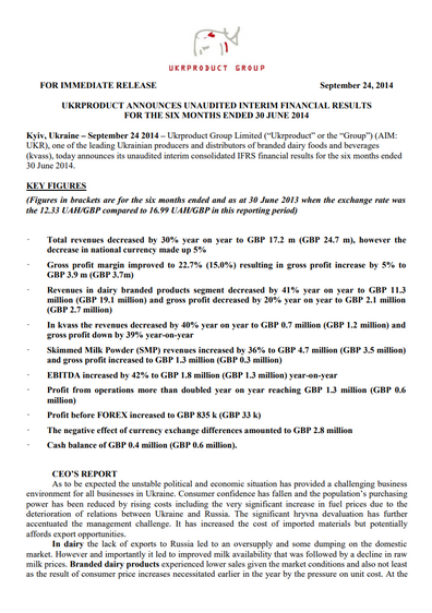 Ukrproduct Group - Half-year results 2014
